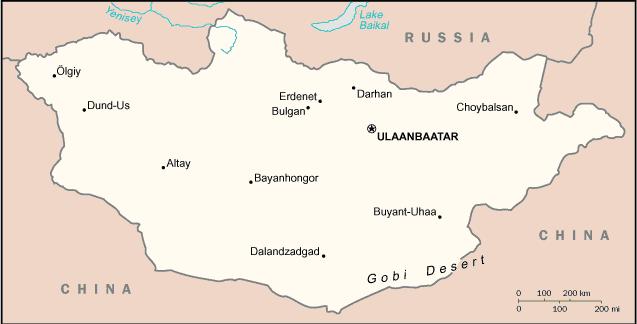 Karte der Mongolei